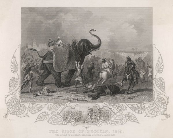 The houdah of Moolraj's elephant struck by a cannon ball during the Siege of Mooltan, Sikh War