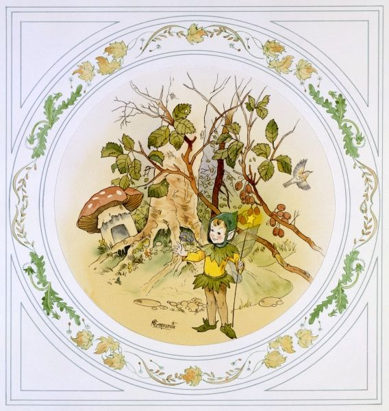 A young elfen sprite standing in the undergrowth near a speckled toadstool. Watercolour painting by Malcolm Greensmith set in a circular border