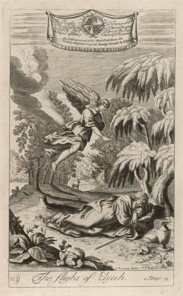 The persecuted prophet Elijah is protected by an angel who brings him food and drink