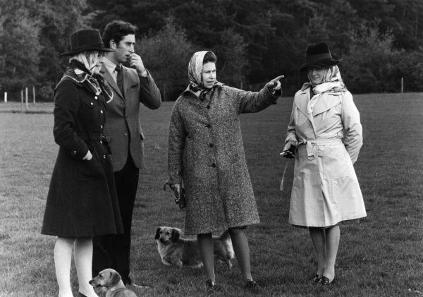 ELIZABETH II with Prince Charles and others at the Royal Windsor Horse Show Date: 1974