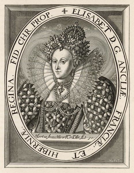 QUEEN ELIZABETH I Reigned 1558 - 1603 Oval portrait