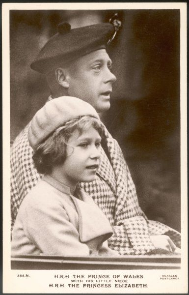 ELIZABETH II Future Queen, with her uncle Edward (VIII) when he was Prince of Wales