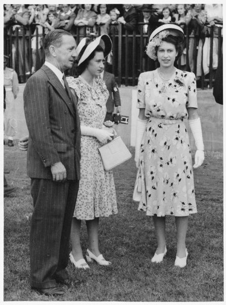 QUEEN ELIZABETH II When she was still Princess Elizabeth (on the right) and Princess Margaret, with Col. G. D. Henderson, Johannesburg agricultural show