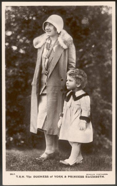 ELIZABETH, WIFE OF GEORGE VI as the Duchess of York, with Princess Elizabeth out walking