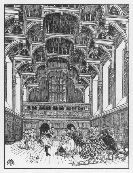 Grand ladies and gentlemen converse inside an Elizabethan hall with a magnificent hammer-beam roof