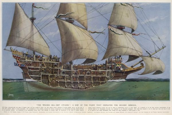 Illustration of an Elizabeth warship, circa 1588, from the Illustrated London News, 2nd March 1929. This image depicts a typical warship of 500 tons, mounting 28 guns, that could have been used by the English navy against the Spanish Armada in 1588
