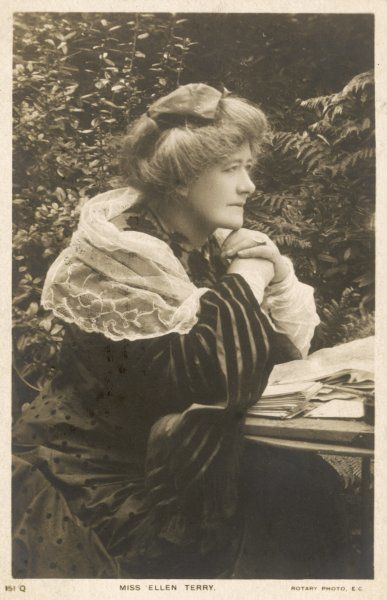 Dame ELLEN ALICE TERRY English actress - not getting on with her paperwork!