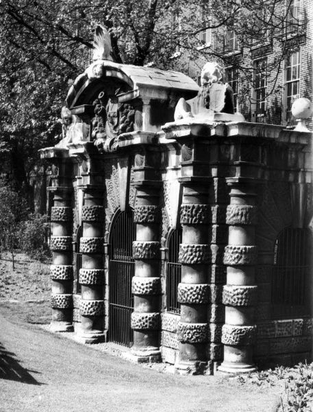 This fine old Water Gate in the Embankment Gardens, London, was designed by Inigo Jones, c. 1619, as the river entrance for York House, home of the 1st Duke of Buckingham. Date: early 17th century