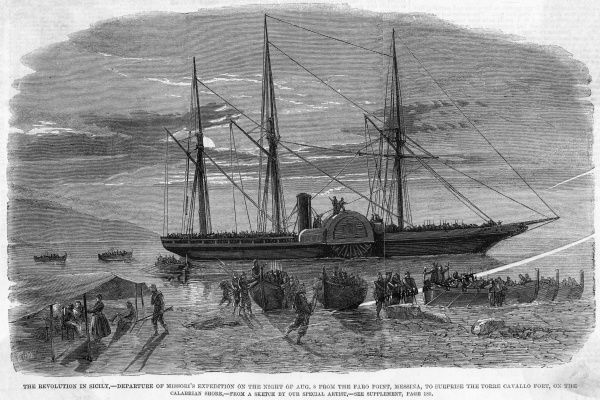 Following on the invasion by Garibaldi's 'thousand'. Missori's expedition embarks from the Faro Point, Messina, to invade the Italian mainland at Calabria