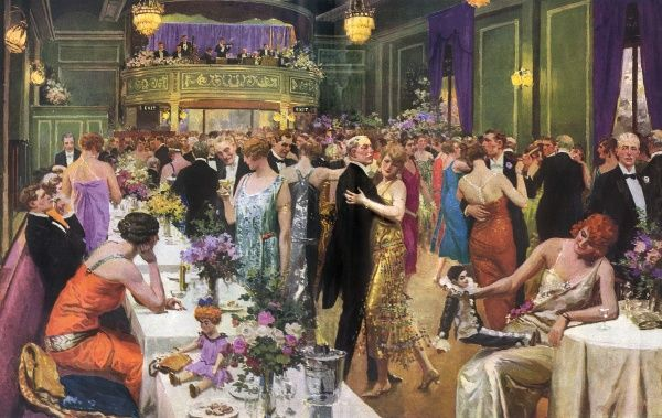 The Embassy Club in London in 1924, owned by restaurateur Luigi with entertainment supplied by (Bert) Ambrose and the Embassy Club band. According to The Tatler, the Embassy, 'has for many years been the gayest and brightest centre in London