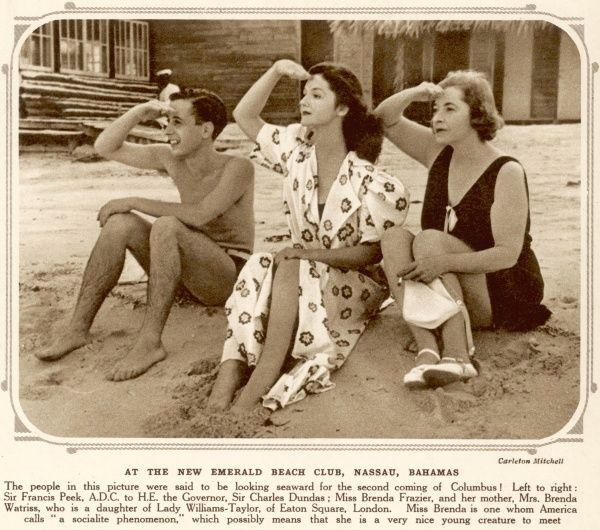 At the New Emerald Beach Club, Nassau, Bahamas. The people in this picture were said to be looking for the second coming of Columbus! Left to right: Sir Francis Peek; Miss Brenda Frazier (a socialite phenomenon); and her mother Mrs Brenda Watriss