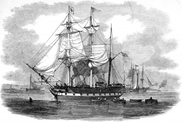 Engraving showing the three-masted emigrant ship, 'Artemisia' leaving Britain for Moreton Bay, New South Wales, 1848. Date: 1848