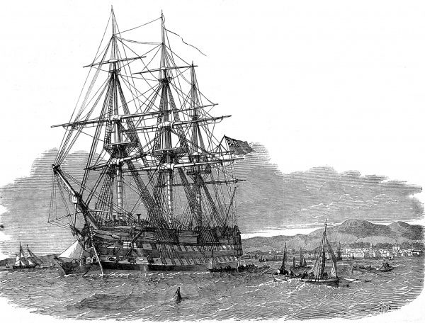 Engraving showing the emigrant ship 'Hercules' at anchor in Campbelton Harbour, Isle of Skye, 1853. The 'Hercules' sailed from Skye that year with passengers emigrating for a new life in the British colonies