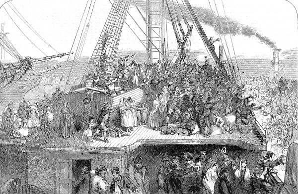 Engraving showing the crowded deck of an emigrant ship and dockside at Liverpool, as the ship departs for America, 1850