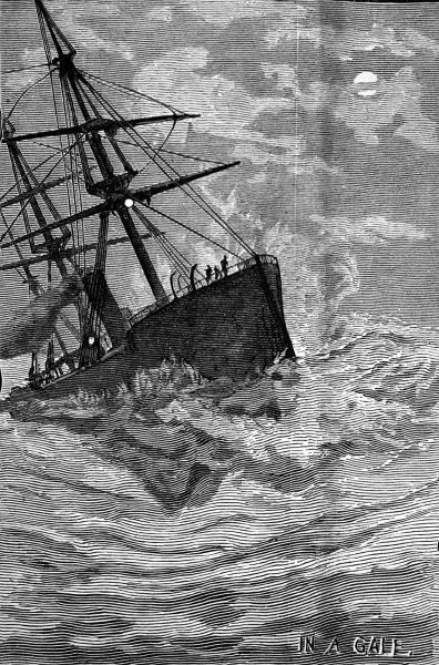 Engraving showing an emigrant ship, en route to Australia, lurching in tempestuous seas