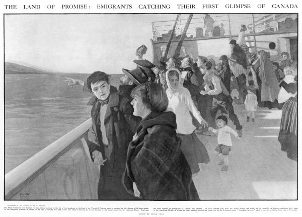 "A soul stirring moment for emigrants to Canada as they see their future home for the first time. The ship is arriving by the St Lawrence route, ""Canada's Gateway&quot"
