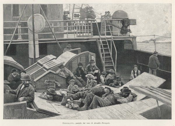 Emigrants travelling steerage sit or sleep on deck as their ship carries them to America