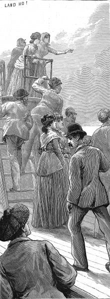 Engraving showing a group of emigrants on the deck, sighting Australia in the distance, 1887. The men are shown dressed in suits and bowler hats, whilst the women wear skirts, jackets, hats and shawls