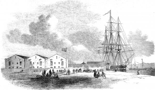 Engraving showing an emigration depot at Birkenhead, for the reception of Government emigrants to Australia, with a vessel alongside the wharf preparing for the voyage, 1852