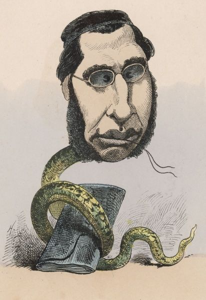 EMILE OLLIVIER French statesman, depicted as a double-dealing serpent at the court of Napoleon III