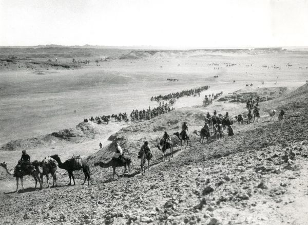 Emir Faisal's army entering Wejh (now in Saudi Arabia) during the First World War. Date: January 1917