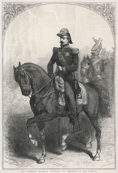 Engraved portrait of Napoleon III, Emperor of France, in military uniform on horseback, 1854