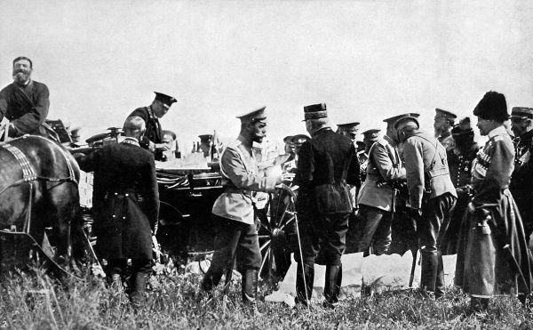 Photograph from 1914, showing Tsar Nicholas II lunching with French officers during manoeuvres of his army. Russia was to form a triple alliance with France and Great Britain during World War I