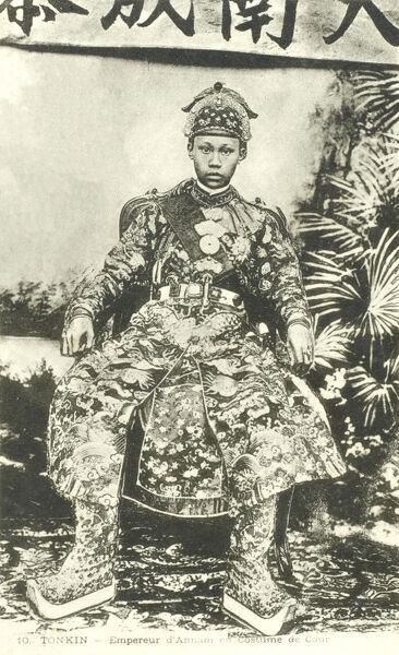 Annam Emperor Than Thai (Nguyen Phuoc Chieu) (Nguyen Phuoc Buu Lan) (1879-1954) (reigned 1889-1907). He encouraged French-style education but maintained bitter feelings over their control of his country, also supported numerous building projects