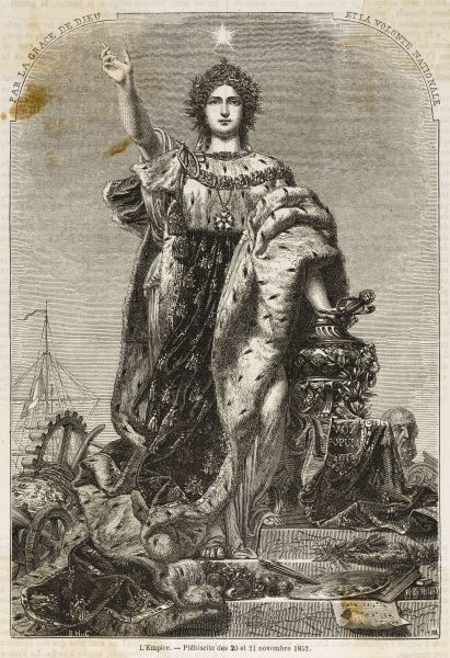 An allegory of Napoleon's imperial take-over after the 1852 plebiscite - 'Marianne', the symbol of France, chooses to wear imperial robes