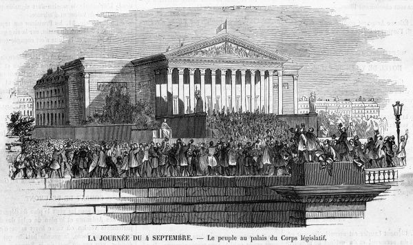 The people of Paris hail the dissolution of the Empire before the palais du Corps Legislatif