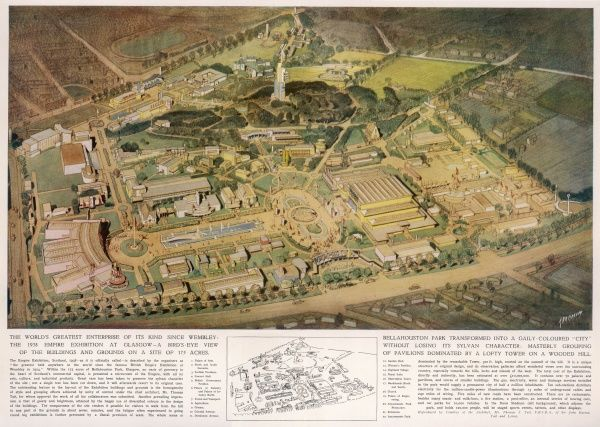 A bird's-eye view of the buildings and grounds comprising Bellahouston Park, at the Empire Exhibition in Glasgow