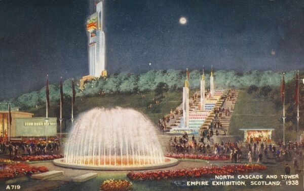 The North Cascade and Tait Tower at the Empire Exhibition held at Bellahouston Park, Glasgow, Scotland