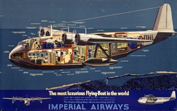 Poster advertising the most luxurious flying boat in the world, the Empire flying boat. This particular model is the G-ADHL of Imperial Airways. The side is cut away so that the interior features can be seen