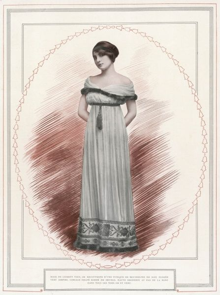 Directoire / Empire revival gown: high waist, draped fur- trimmed corsage, tasseled girdle, finely gathered skirt ornamented at the hem with Roman style embroidery