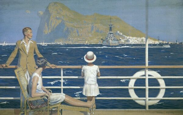 Empire Marketing Board poster showing a family on the deck of a ship which is sailing close to the rock of Gibraltar