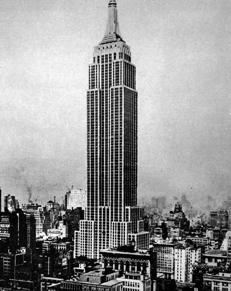 Photograph of the Empire State Building, New York. At 1250 foot high, it was then the tallest skyscraper in the world