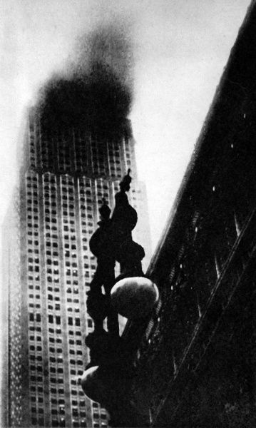Photograph showing the Empire State Building on fire, between the eighty-fifth and ninetieth floors, as a result of a Mitchell bomber accidently crashing into the building, 28th July 1945. The pilot of the airplane, Lieutenant-Colonel W.F. Smith