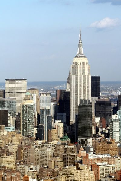 Aerial view of New York City skyline and midtown with the Empire State Building on Manhattan Island, America