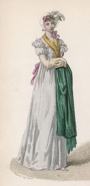 This blue gown with green shawl demonstrates a later 19th century interpretation of the 'Empire' style of 1804 and may or may not be based on an actual fashion plate