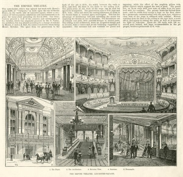 Five scenes showing the newly opened Empire Theatre in London. Clockwise from top left: 1. The Foyer. 2. The Auditorium. 3. Exterior View. 4. Staircase. 5. Promenade