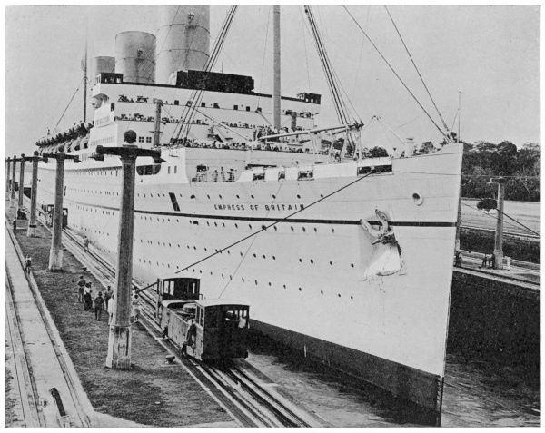 Built on the Clyde for the Canadian Pacific Line and launched in 1930. Seen here passing through the Panama Canal during a world cruise
