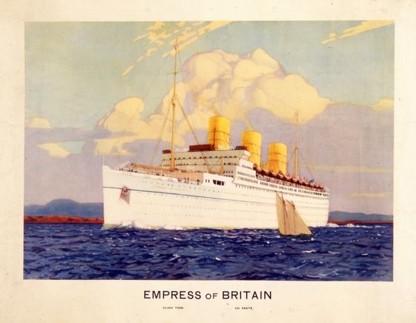 The ocean liner, Empress of Britain, a steamship owned by the Canadian Pacific Steamship Company. The ship carried mail as RMS Empress of Britain or passengers with the prefix SS. She was torpedoed and sunk in 1940 by German U-boat, U-32