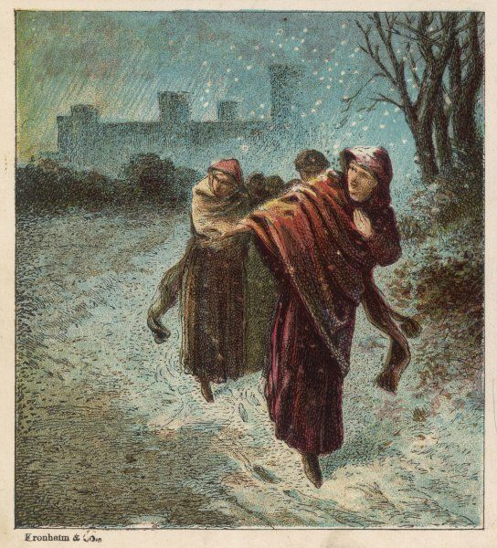 Empress Matilda, daughter of Henry I, escapes from Oxford Castle on a snowy night where she has been imprisoned by Stephen