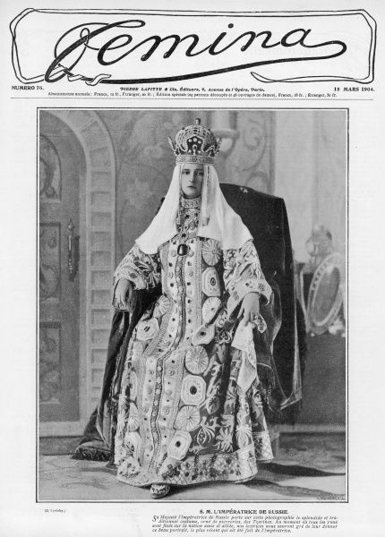 The Empress of Russia, Alexandra Feodorovna, wearing a beautiful, traditional costume decorated with stones