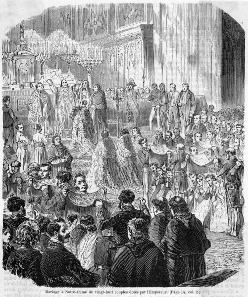 Napoleon encourages population growth by presenting dowries to 28 happy couples at Notre Dame de Paris