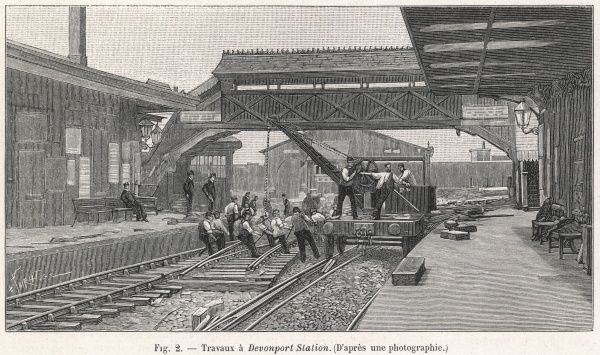 Brunel's Great Western Railway pioneered the broad gauge from 1838 until 1892 when the final break with broad gauge took place. Here, the engineers are shown converting the tracks to dual gauge