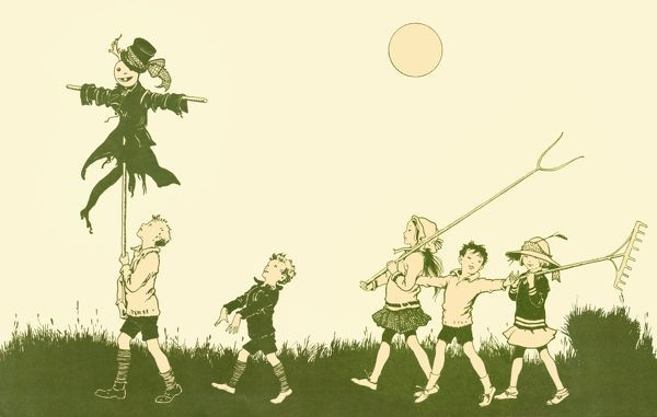 End paper design for Blackie's Children's Annual for 1922, showing five children with a guy hoisted on a stick, carrying a pitchfork and a rake, no doubt in preparation for Bonfire Night. Date: 1922