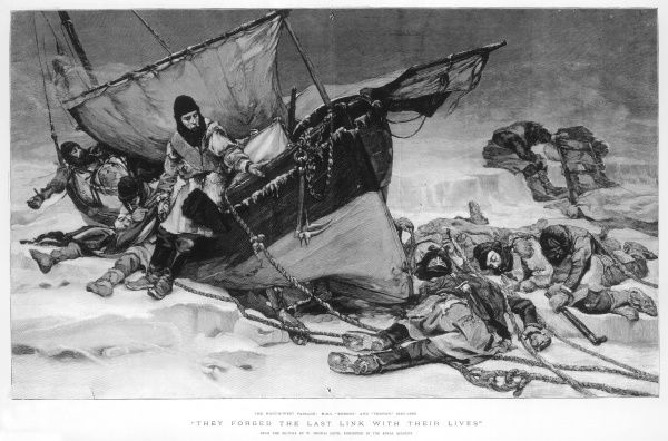 Engraving showing the end of Sir John Franklin's ill-fated Arctic expedition of 1845, entitled 'They Forged the last link with their lives'. This engraving was taken from a painting by W. Thomas Smith, exhibited in the Royal Academy in 1896