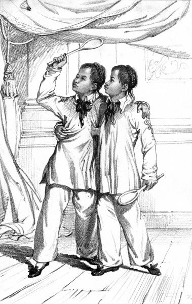 Eng and Chang (circa 1814-1874), Siamese twins at the age of 18, playing shuttlecock
