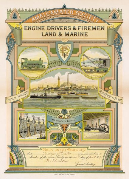 Certificate of the Amalgamated Society of Engine Drivers & Firemen, Land and Marine, accepting George Pointer as a member